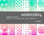 """Modern Digital Paper + watercolor - 058  + Scrapbook Quality Paper Pack  (12 x 12""""- 300 dpi)   6 sheet pack paper + Instant Download + Ombre"""