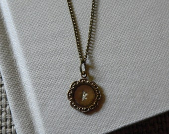 Minimalist Flower Brass and Resin Initial (8mm) Necklace - Christmas Gift, BFF Gift