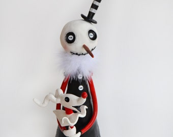 Gothic tree topper- Gothic Snowman - Gothic Decor - Made to Order
