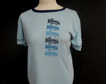 70s Knott's Berry Farm T Shirt California Amusement Park Blue Ringer Shirt