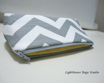 Chevron Bridesmaid Pouches Choose set amount / and color Blue Gray Coral Black Red Hot Pink Lavender Green Yellow Navy Blue Brown Orange