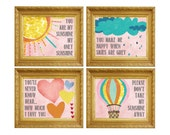 You are my Sunshine Wall Art, Nursery Art, Wall Art Children, Kids Room Nursery Décor, Baby Girl Nursery, Nursery Room Art, Pink Nursery Art