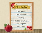 Printable, Last Minute Gift for Teacher, Teacher Appreciation, YOU print, Customize, Personalize, Wall Art, Elementary School Teacher