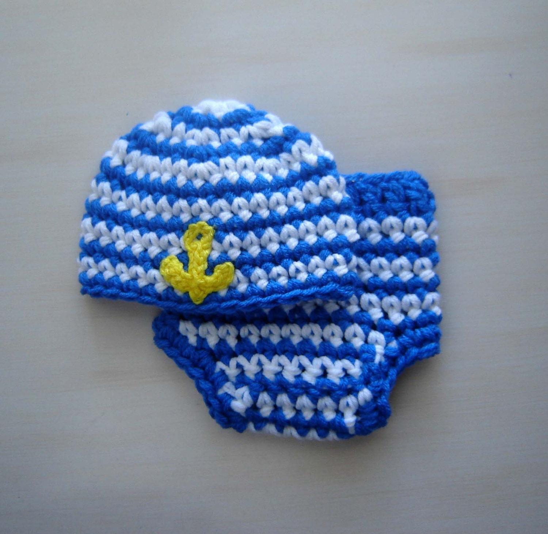 Crochet Baby Marine Hat Pattern : Sailor Marine Baby Boy Crochet Set: Hat and Diaper Cover
