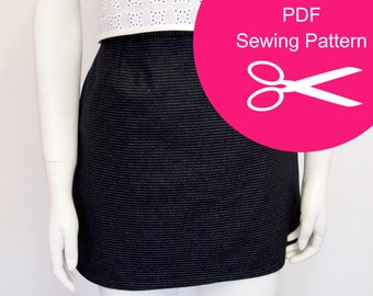 Pencil Skirt - Sewing Pattern - Instant PDF Download - Womens Fashion Mini Skirt