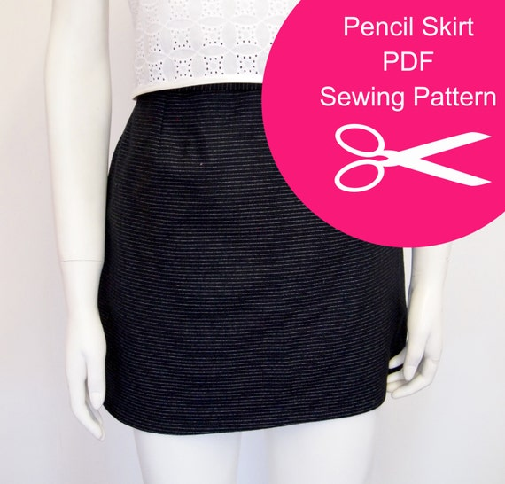 pencil skirt sewing pattern instant pdf womens