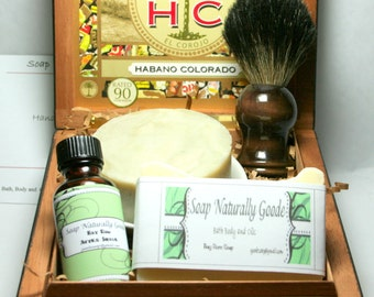 Shaving kit with Black Badger Shave Brush Men Gifts