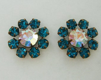 2pcs - Vintage Clear AB  and Blue Zircon Rhinestones in Antiqued Brass Prong Settings.