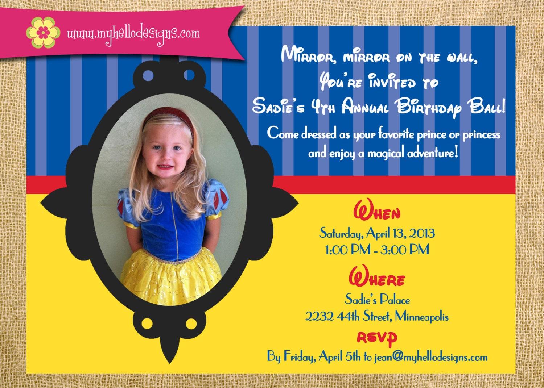Printable Snow White Inspired Birthday Party Invitation Diy