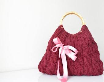 Free Shipping Valentines day gift Knitted  Handbag / everyday bag Handmade Bag,Moms Gift,Fashion Week,fashion,hibbe,spring fashion -children