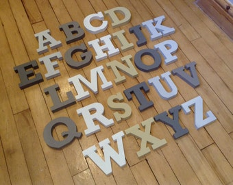 Wooden Alphabet Letters - Hand Painted Wooden Letters Set - 26 letters - 12cm high - RS font