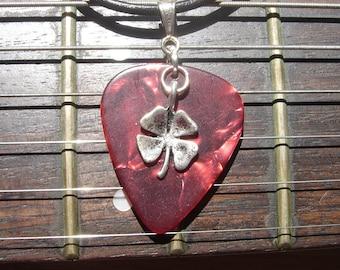 Red Guitar Pick Shamrock Necklace