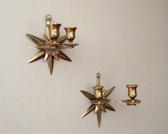 Set of Brass Starburst Wall Candle Holders