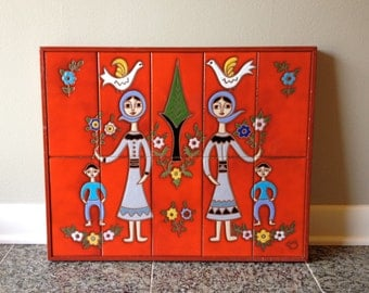 Mid Century Hand Painted Ceramic Tile Wall Hanging