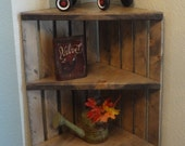 Corner Crate Shelf- Rustic Grey Shelf - Corner Shelf - Wooden Corner Shelf - Rustic Shelves - Corner Shelf Unit - Wooden Shelves