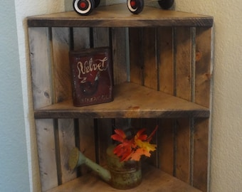 Gallery Of Corner Crate Shelf Rustic Grey Wooden With Unit