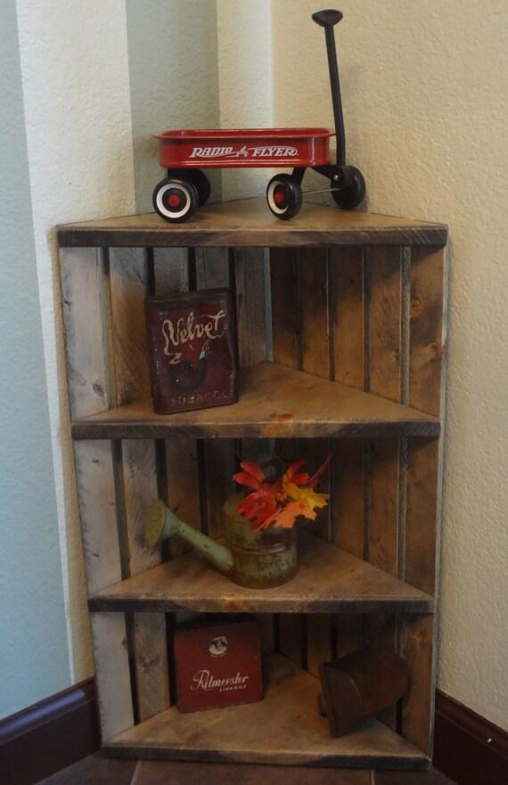 Corner Crate Shelf Rustic Grey Wooden
