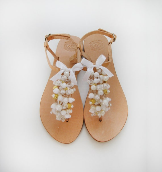 Bridal sandals - Handmade Leather Sandals decorated with a White, Gold and Clear Beads