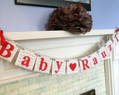 Baby Shower Decoration- Chevron Stripes Baby Name Banner- New Baby Nursery Garland- Photo Prop You Pick the Colors