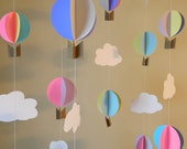 Hot Air Balloon Decorations / Up Up & Away Baby Shower Decor / DYI Crib Mobile / Up Up and Away Birthday Decor- your color choices