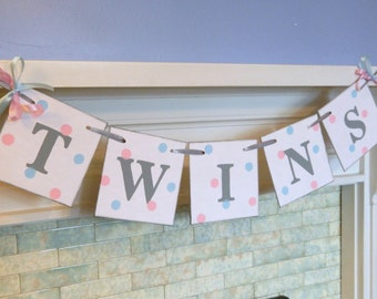 Twins Banner / Baby Shower Decor / It's Twins Baby Shower / Nursery Decor / Maternity Photo Prop / Custom colors