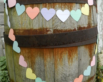 Valentines Day Garland - Pastel Heart Garland- 6ft Valentines Hearts - Valentines Garland / Holiday Hearts Garland / Valentines Photo Prop