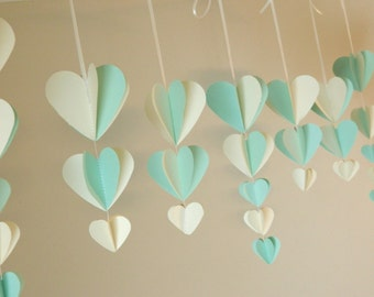 Bridal Shower Decorations / Shabby Chic Wedding Decor / Mint and Ivory Heart Garland / Wisteria Paper Hearts / Custom Colors