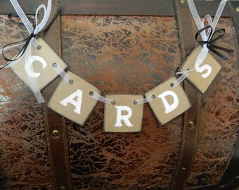 Wedding Cards Banner- Cards Box /Suitcase Banner- Cards Birdcage Sign / Cards Banner- You Pick The Colors