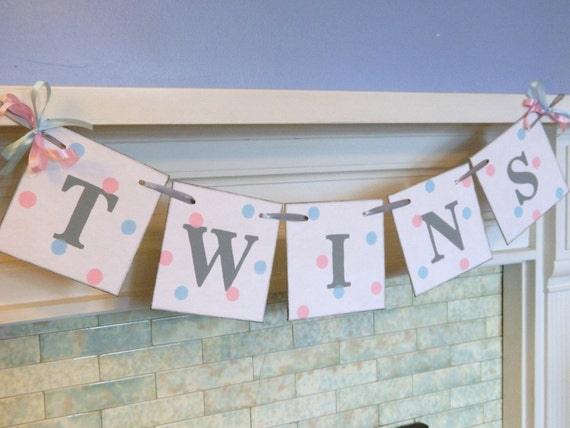 Twins banner baby shower decor it 39 s twins baby shower for Baby shower decoration twins
