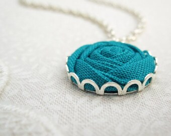 Jade Green Flower Necklace - Simple Silver Bridesmaid Necklace - Fabric Flower