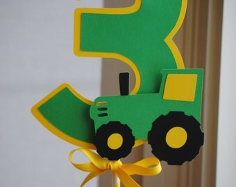 NEW - Tractor Centerpiece with Age, Choice of Colors and Age
