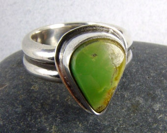 "Green ""Verde Mine"" CERRILLOS Turquoise Ring - Size 6 Direct from the New Mexico Turquoise Miner/Artisan"