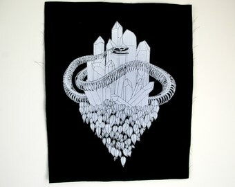 Crystal Snake Black Sew On Punk Backpatch
