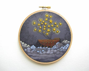"""Embroidery Hoop Art - Wall Art - Fiber Art Mixed Media - Original Acrylic Painting and Embroidery on a 6"""" Embroidery Hoop"""