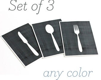 Utensils Set of 3 Art Prints / Knife, Fork & Spoon Kitchen Wall Art / Choose your Colors and Size