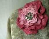 Wet felted brooch. Rose. Wet felted flower pin. Large felt brooch rose. Felt corsage in wine red to blush pink. Felted rose.