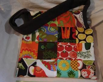 Patchwork tote bag OOAK handmade cotton colorful, lined one pocket, quilt block design crazy quilt bag
