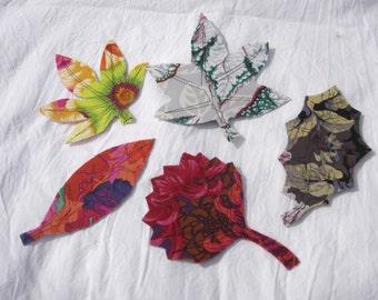 Cloth leaf bookmarks leaves book mark cherry holly sweet gum aspen japanese maple  wood trees fabric leaves batik colorful