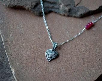 Silver Necklace, Filigree Heart Pendant, Asymmetrical Necklace, Natural Ruby Accent