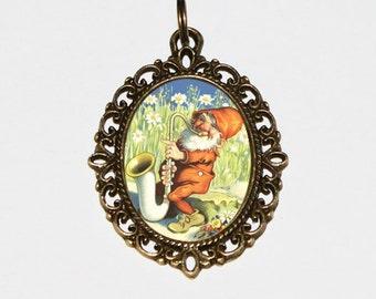 Saxophone Gnome Necklace, Gnome Jewelry, Gnomes, Oval Pendant