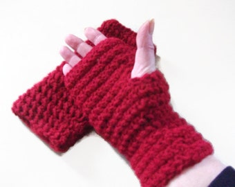 Fingerless Gloves/Mittens in with Red for Women and Men, Fashion Accessories, Wrist warmers. Winter warmers,
