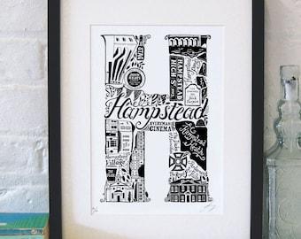 Best of Hampstead - London print - London poster - London Art - Typographic Print - London illustration - letter art - North London poster