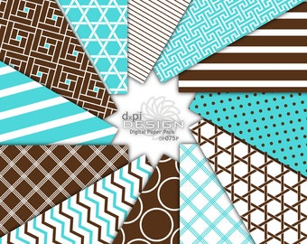Turquoise & Brown - Digital Paper Printable Backgrounds - turquoise blue and brown digital scrapbook paper - Instant Download (DP075P)