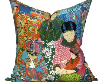Voyage en Chine pillow cover in Turquoise