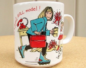vintage 80s busy mom on roller blades cup mug mom's a great roll model running late for work