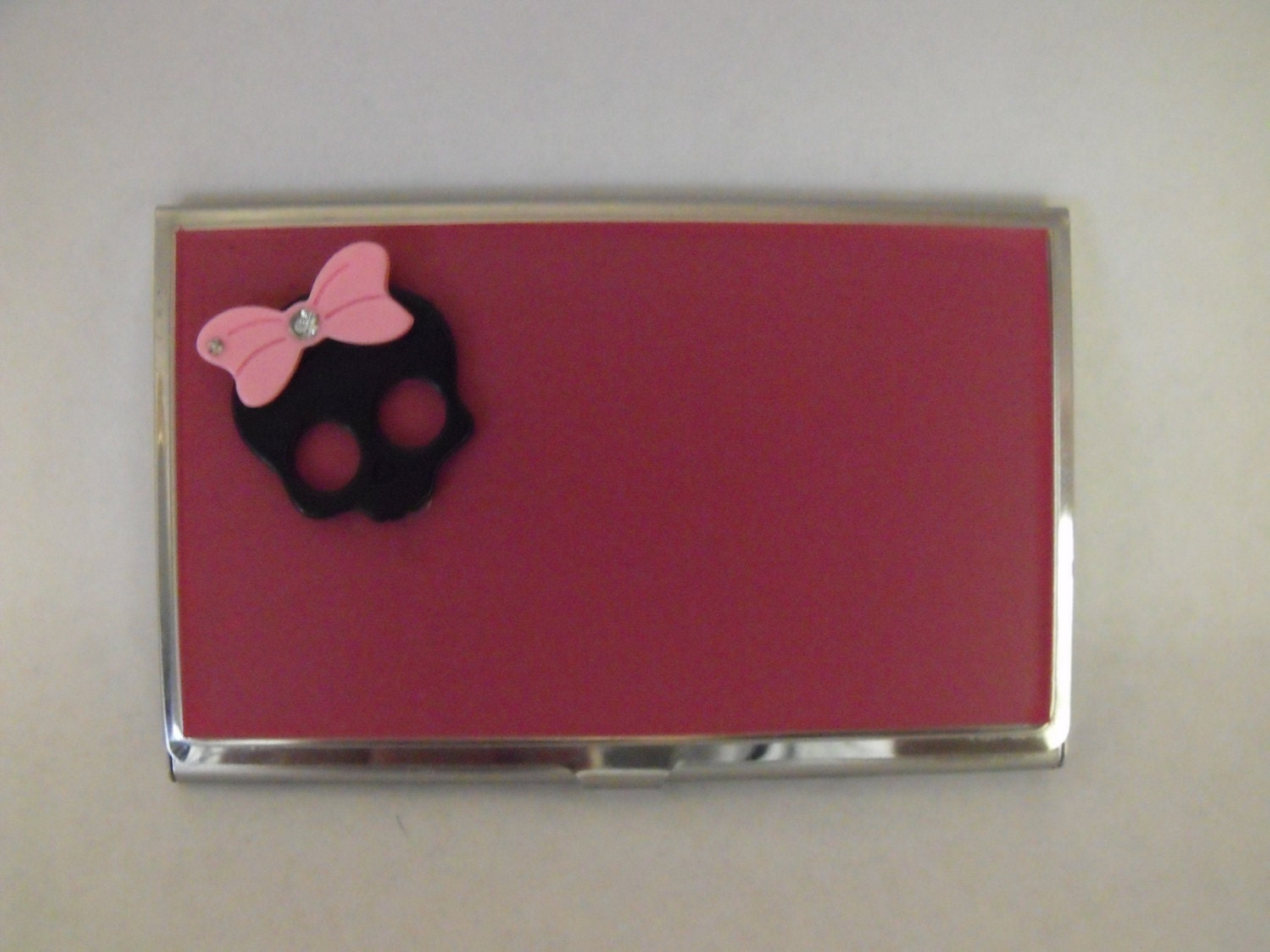 Credit card holder business card holder girly goth black resin credit card holder business card holder girly goth black resin skull pink background womens colourmoves