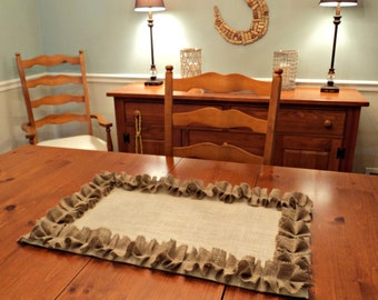 Ivory Burlap Table Runner with Natural Ruffles