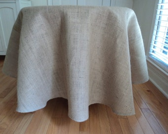 """Round Burlap Tablecloth 70"""" to 120"""" Diameter or Custom Sizes Rustic Chic Home Decor"""