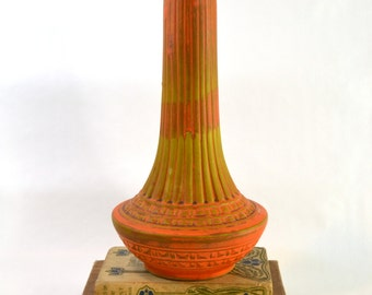 Vintage Mid Century Cal-Style Ceramic CO Vase // Orange Ceramic Vase  // Made in California USA