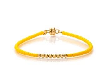 Delicate Matt Yellow & Small Gold Beaded Friendship Bracelet